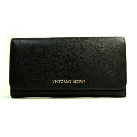 【送料無料】本革製 VICTORIA'S SECRET ヴィクトリアシークレット ビクシー 長財布 ウォレット ボタン開閉 ブラック