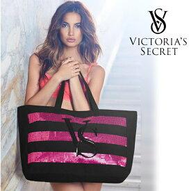 【送料無料】VICTORIA'S SECRET ヴィクトリアシークレット ビクシー バッグ トートバッグ ママバッグ 大きめ スパンコール ロゴ ボーダー