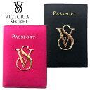 【送料無料】本革 VICTORIA'S SECRET ヴィクトリアシークレット ビクシー パスポートケース カードケース パスケース ブラック ピンク