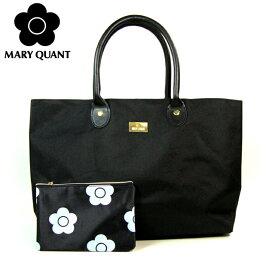 【送料無料】MARY QUANT マリークワント トートバッグ ポーチ付 裏地デイジー柄 大容量 サブバッグ ママバッグ