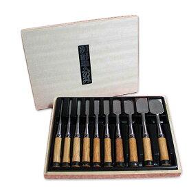 ■播州三木 ハイス鋼 赤樫柄 追入鑿 10本組 木箱入 集成材デコラ