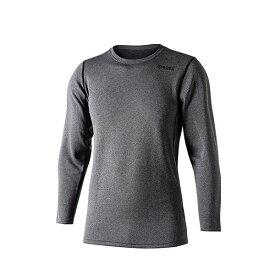 ■おたふく JW-180 BTデュアルブラッシュド クルーネックシャツ グレー×ブラック 吸汗速乾 防寒 裏起毛 冬
