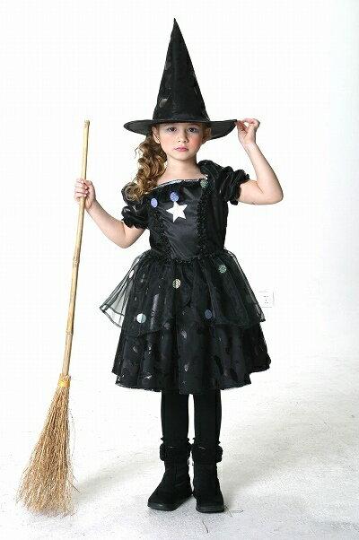 [魔女 コスプレ] メルヘンウィッチ 黒(子供用:140cm)  [ハロウィン衣装 ハロウィーン コスチューム 仮装 子供 女の子]【431022】