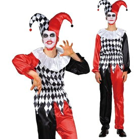 [ジョーカー コスプレ] ダイヤチェックジョーカー [トランプ コスプレ ジョーカー コスチューム 道化師 不思議の国のアリス ピエロ 衣装 仮装 大人 男性]【866305】