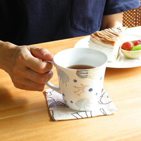 くらげマグカップ【波佐見焼】【h.seed】【一誠】【HASAMI】【長崎】【磁器】【カラフル】【マグカップ】【手描き】【海】【可愛い】【おすすめ】【プレゼント】【くらげ】【和食器】【パステル】