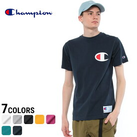 チャンピオン Tシャツ Champion 綿100% ビックロゴ刺繍 クルーネック 半袖メンズ カジュアル 男性 メンズファッション トップス ティーシャツ シンプル デザイン C3F362 シンプル 定番 ビッグC 無地 デカロゴ ロゴ