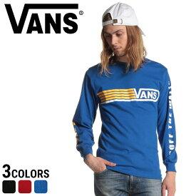 VANS バンズ ロンT 綿100% ラインロゴ クルーネック Tシャツメンズ カジュアル 男性 ファッション トップス シャツ ロンT 長袖 コットン プリント VN0A3ZFE