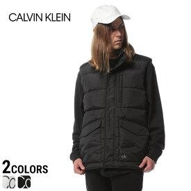 Calvin Klein カルバンクライン 中綿 ベスト メンズ 撥水 衿ロゴ フルジップ 中綿 ベストメンズ カジュアル 男性 ファッション トップス アウター シンプル ロゴ 防寒 秋冬 40J1133