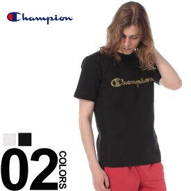 チャンピオン Tシャツ Champion 綿100% 迷彩ロゴ刺繍 クルーネック 半袖 Tシャツメンズ カジュアル 男性 ファッション トップス シャツ カモフラ スポーティー 春夏 C3M303 シンプル 定番 ベーシック 無地