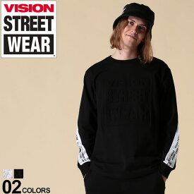 VISION STREET WEAR Tシャツ ヴィジョン ロンT 綿100% エンボスロゴ アームライン クルーネック 長袖メンズ カジュアル 男性 ファッション トップス シャツ コットン シンプル ストリート 9723141