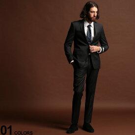 Calvin Klein (カルバン クライン) ストレッチ ウール混 ピンストライプ シングル 2ツ釦 スーツ DARKGRAY SLIM FITブランド メンズ 男性 紳士 ビジネス フォーマル ウール シンプル ノータック 伸縮 CKMABRY5UZX171
