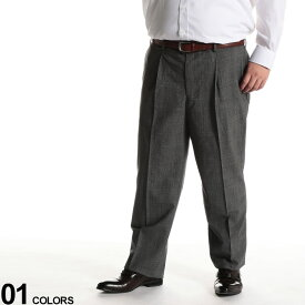 大きいサイズ メンズ HYBRIDBIZ (ハイブリッドビズ) HYBRIDBIZWALK ウール混 チェック ワンタック スラックス GRAY ボトムス スラックス ロングパンツ パンツ タックパンツ 紳士 フォーマル 洗える 020405120S6675