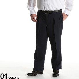 大きいサイズ メンズ HYBRIDBIZ (ハイブリッドビズ) HYBRIDBIZWALK ウール混 チェック ワンタック スラックス NAVY ボトムス スラックス ロングパンツ パンツ タックパンツ 紳士 フォーマル 洗える 020405320S6675