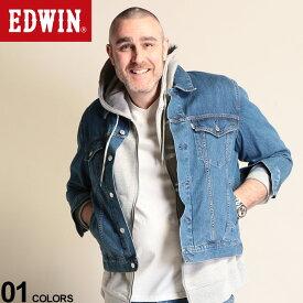 大きいサイズ メンズ EDWIN (エドウィン) 綿100% ポケット フルボタン デニム ジャケット フェードブルー ジャケット Gジャン デニム 春物 ボタン コットン ベーシック シンプル ET10879982L4L 流行 メンズファッション ブランド 原宿ゼンモール