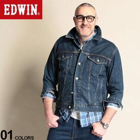 大きいサイズ メンズ EDWIN (エドウィン) 綿100% ポケット フルボタン デニム ジャケット ネイビー ジャケット Gジャン デニム 春物 ボタン コットン ベーシック シンプル ET10879932L4L 流行 メンズファッション ブランド 原宿ゼンモール
