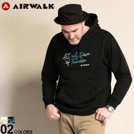 大きいサイズ メンズ AIRWALK (エアウォーク) 厚盛り刺繍 フード プルオーバー 長袖 パーカー パーカー プルパーカー 裏毛 刺繍 プルオーバー シンプル コットン 春 01600132