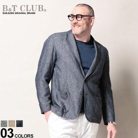 大きいサイズ メンズ B&T CLUB (ビーアンドティークラブ) 綿麻 チェック&無地 シングル 2ツ釦 ジャケット ジャケット テーラード リネン コットン 春 フォーマル カジュアル ビジカジ きれいめ BT761241Z