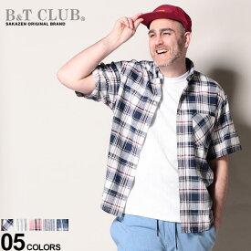 大きいサイズ メンズ B&T CLUB (ビーアンドティークラブ) 綿麻 抗菌防臭 ボタンダウン チェック&ストライプ 半袖 シャツ シャツ 半袖 ポケット 柄 春 夏 リネン コットン チェック ストライプ 791951Z