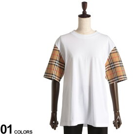 BURBERRY (バーバリー) 袖切り替え ヴィンテージチェックディテール クルーネック 半袖 Tシャツ WHITEブランド レディース トップス Tシャツ チェック 切り替え 春 夏 コットン 無地 異素材 BBL8014896