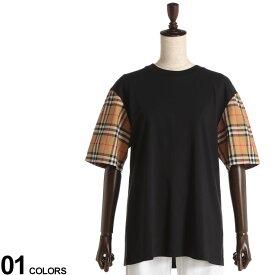 BURBERRY (バーバリー) 袖切り替え ヴィンテージチェックディテール クルーネック 半袖 Tシャツ BLACKブランド レディース トップス Tシャツ チェック 切り替え 春 夏 コットン 無地 異素材 BBL8014895