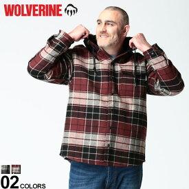 大きいサイズ メンズ WOLVERINE (ウルヴァリン) 裏フリース フード チェック 長袖 シャツ BONDED SHIRTS ブルゾン パーカー チェック 秋 冬 起毛 アウトドア ボタン W1203770
