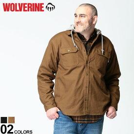 大きいサイズ メンズ WOLVERINE (ウルヴァリン) 裏フリース フード フルボタン 長袖 シャツ HOODED SHIRT トップス ブルゾン パーカー 秋 冬 ポケット アウトドア 暖かい ミリタリー W1203890