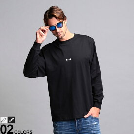 MSGM メンズ Tシャツ 長袖 エムエスジーエム ロゴ プリント クルーネック MICROLOGO ブランド トップス カットソー コットン MS2940MM160