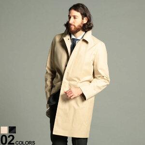 Aquascutum (アクアスキュータム) 綿100% 裏地チェック シングル ステンカラー コートブランド メンズ 男性 アウター コート ロング フォーマル 秋 冬 ビジネス きれいめ ベーシック AQMARLBOROUGH