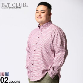 大きいサイズ メンズ B&T CLUB (ビーアンドティークラブ) 綿100% 総柄 ポケット付き ボタンダウン 長袖シャツ シャツ 長袖 柄シャツ コットン 春 秋 カジュアルシャツ ポケット付き KBM03901
