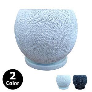 植木鉢 おしゃれ コンクリートポット CC035-120 4号(12cm) / 陶器鉢 白 黒 丸形 セメント