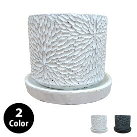 植木鉢 おしゃれ コンクリートポット CC036-140 5号(14cm) / 陶器鉢 白 黒 セメント
