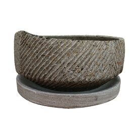 植木鉢 セメントポット CC334-190 6号(19cm) 受け皿付き