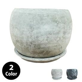 植木鉢 セメントポット MM001-280 9号(28cm) 丸型 受け皿付き