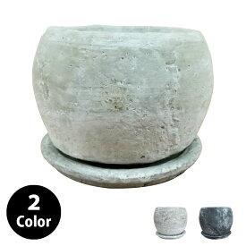 植木鉢 セメントポット MM001-180 6号(18cm) 丸型 受け皿付き