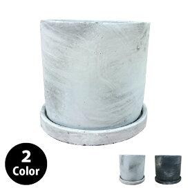 植木鉢 おしゃれ セメントポット MM015-140 5号(14cm) / 陶器鉢 白 黒 コンクリート