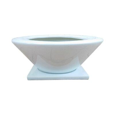 (送料無料)植木鉢おしゃれシンプルな浅型ポットMM057-29010号(29cm)/陶器鉢白黒