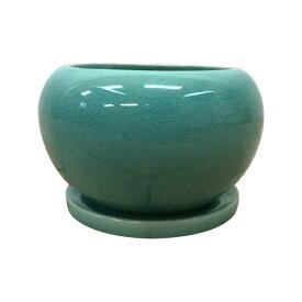植木鉢 シンプル釉薬ポット MM066-140 5号(14cm) 丸型 受け皿付き