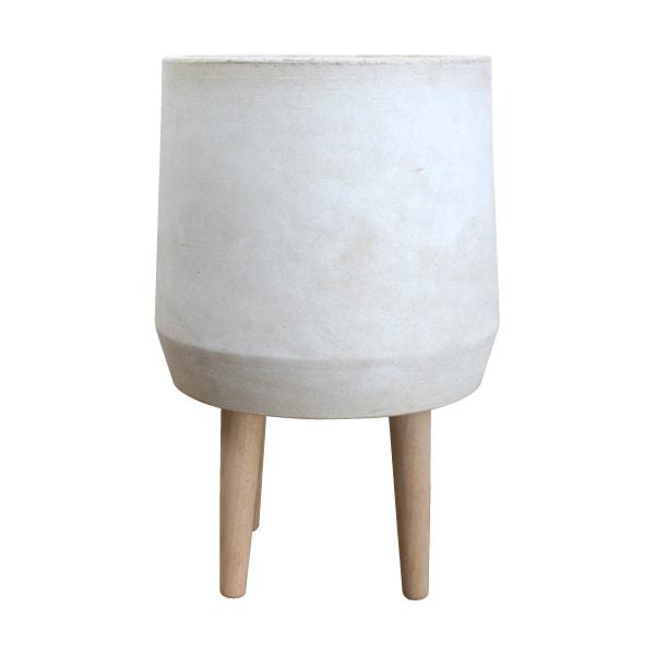 (送料無料) 植木鉢 おしゃれ グラスファイバー製の鉢カバー ST9854-300 10号(30cm) / 陶器鉢 白 大型 脚付き フラワースタンド セメント コンクリート
