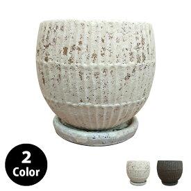 植木鉢 優しい縦ラインの植木鉢 UN426-120 4号(12cm) 受け皿付き 鉢底穴有り