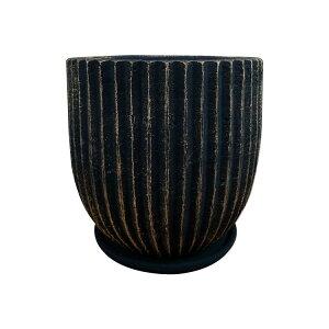 植木鉢 おしゃれ 8号用鉢カバー YS1129-290 10号(29cm) / 陶器鉢 受け皿付き 大型 黒