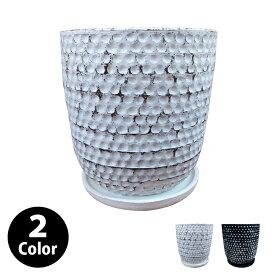 植木鉢 おしゃれ 8号用鉢カバー YS2028-295 10号(31cm) / 陶器鉢 受け皿付き 大型 白 黒