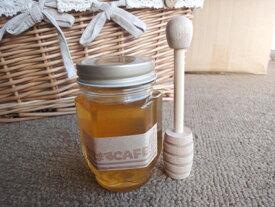 5月に絞りました(R1年度)も国産りんごはちみつ採れました^^りんご蜂蜜170g 採れたばかりのリンゴ蜂蜜と木製サーバーのセットですいかがですか