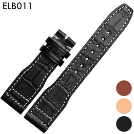 腕時計ベルト 腕時計バンド 替えストラップ 社外品 汎用レザーベルト 革ベルト 取付幅22mm 適用: IWC インターナショナル・ウォッチ・カンパニー [IW377701 MARK16] (尾錠)バックルなし [ Eight - ELB011 ]