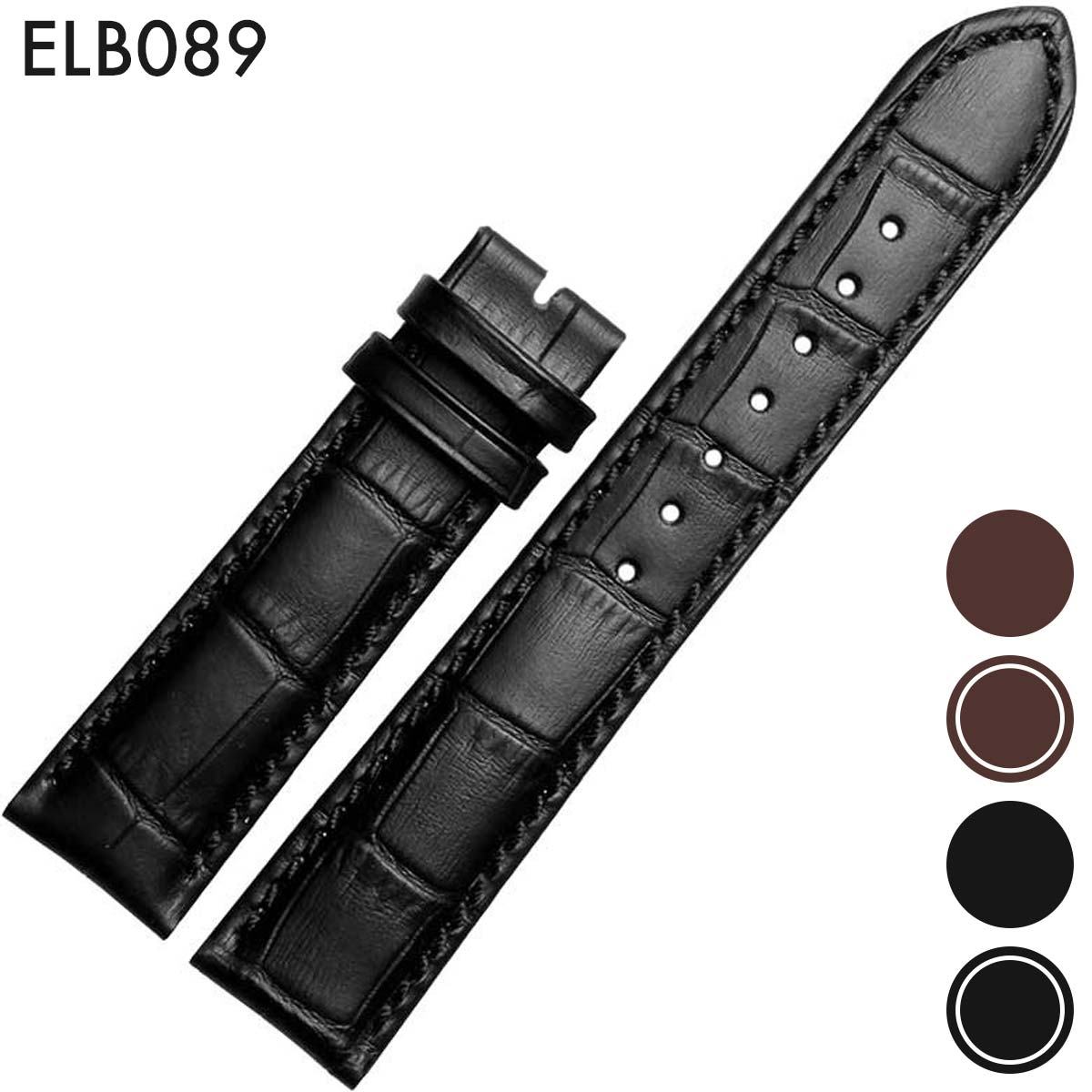腕時計ベルト 腕時計バンド 替えストラップ 社外品 汎用レザーベルト 革ベルト 取付幅19mm/20mm/21mm/22mm/24mm 適用: Patek Philippe パテック・フィリップ (尾錠)バックルなし [ Eight - ELB089 ]