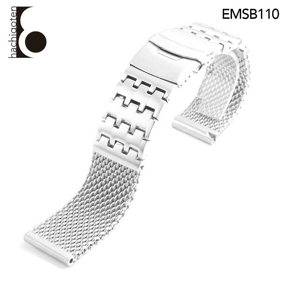 腕時計ベルト 腕時計バンド 替えストラップ 社外品 汎用ステンレスベルト 取付幅24mm 適用: PANERAI パネライ [PAM111]、IWC インターナショナル・ウォッチ・カンパニー、BREITLING ブライトリング (尾錠)Dバックル付き [ Eight - EMSB110 ]