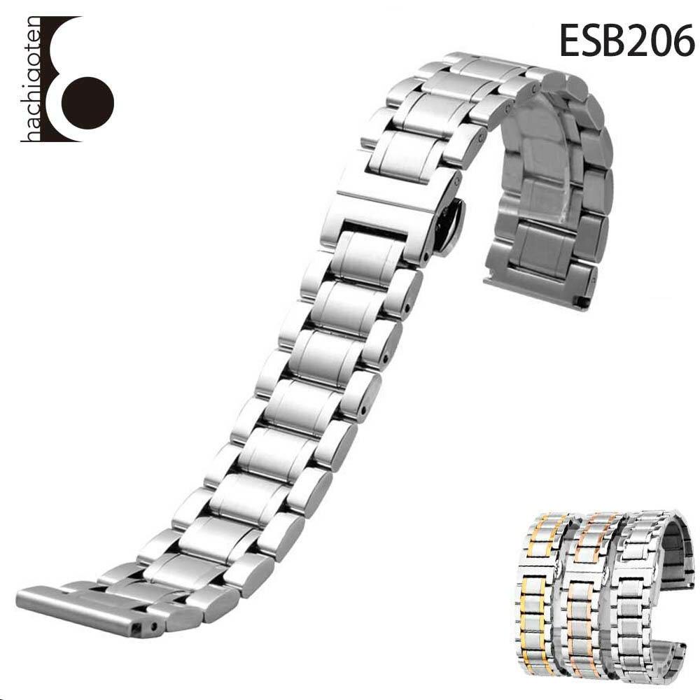 腕時計ベルト 腕時計バンド 替えストラップ 社外品 汎用ステンレスベルト 取付幅14/16/18/19/20/21mm 適用: LONGINES ロンジン (尾錠)バックル付き [ Eight - ESB206 ]