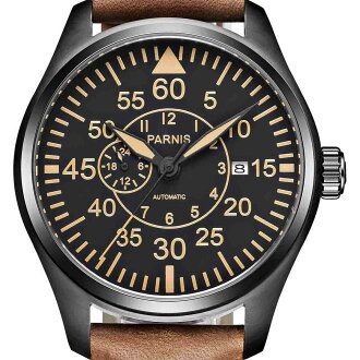 PARNIS标准打数青漆自动卷手表[PA6063-S4AL-BKBR]并进进口商品纯正情况厂商保证12个月