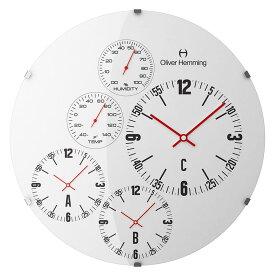 Oliver Hemming オリバーヘミング 壁掛け時計 インテリア 北欧 Vitri Weather Station ヴィトリウェザーステーション 温度計 湿度計 370mm [W370DG69W] 正規品