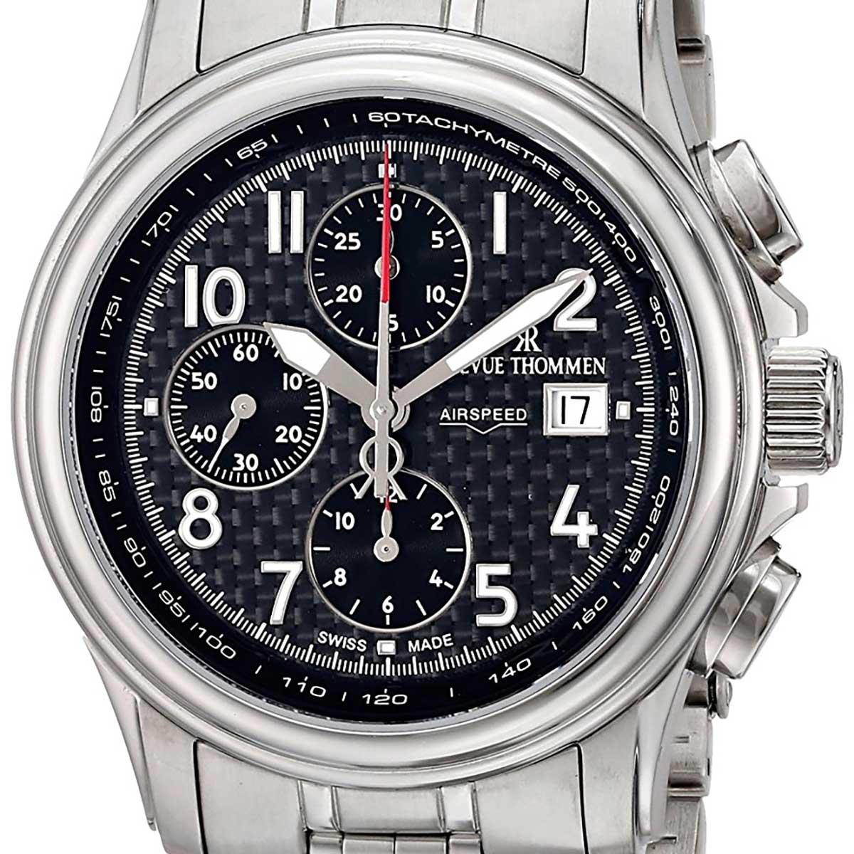 【残り1点】REVUE THOMMEN レビュートーメン 自動巻き(手巻き機能あり) 腕時計 [16041.6137] 並行輸入品 ブラック(黒)