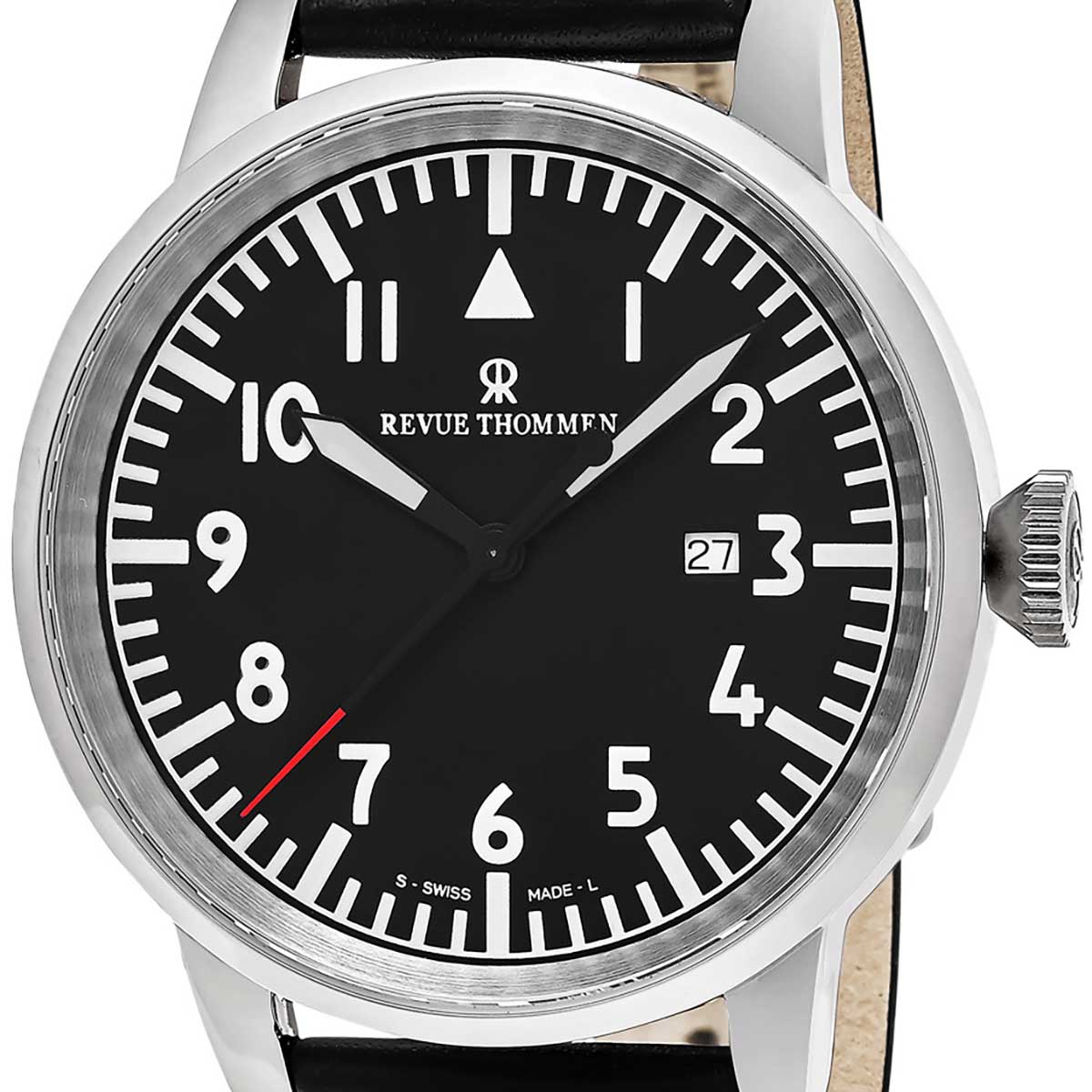 【残り1点】REVUE THOMMEN レビュートーメン 自動巻き(手巻き機能あり) 腕時計 [16053.2537] 並行輸入品 ブラック(黒)